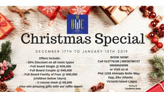 BWC HOTELS Announce  Christmas Special Promo (December 17th – January 13th, 2017)
